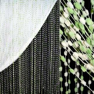Штора ниткова з помпонами 250х280 см кремово-зелена (вага 0,532 кг) оптом