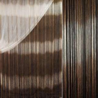 Штора ниткова веселка горизонтальна 310х290 см бежево-коричнева (вага 1,140 кг) оптом
