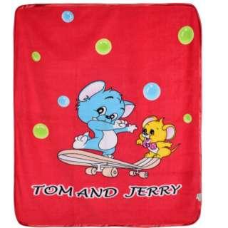 Плед флисовый 110х120 см Том и Джерри на скейте красный оптом