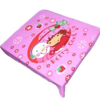 Плед флисовый 110х115 см с девочкой и снеговиком розовый оптом