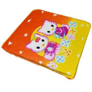Плед флісовий 110х125 см з рожевими котиками оранжево-жовтий оптом