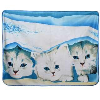 Плед флисовый 130х160 см три котенка оптом
