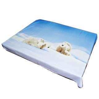Плед флисовый 134х168 см с белыми медведями голубой оптом