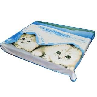 Плед флисовый 133х160 см с двумя котятами голубой оптом