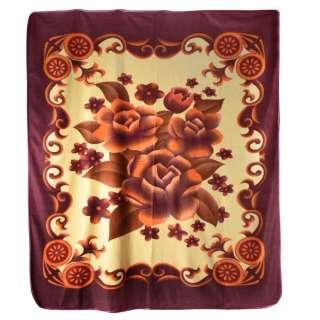 Плед флисовый 200х216 см с оранжевыми цветами и баклажановой каймой бледно-желтый оптом