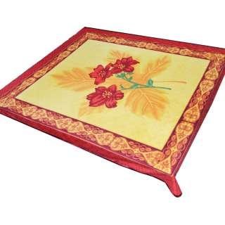 Плед флисовый 185х210 см с красными лилиями желтый с красной каймой оптом