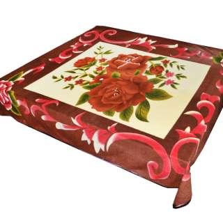 Плед флісовий 204х216 см з трояндами кремовий з коричневою облямівкою оптом