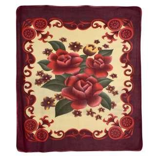Плед флісовий 205х210 см з червоними квітами і баклажанові облямівкою блідо-жовтий оптом