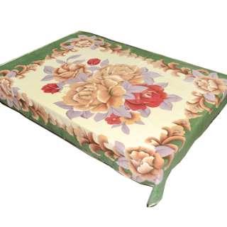 Плед флисовый 150х196 см с бежевыми и бордовыми розами и зеленой каймой бежевый оптом