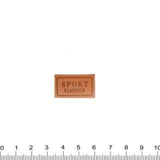 нашивка кожаная SPORT CLASSIC, 1,5х2,5см оптом