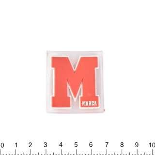 аппликация силиконовая Буква М красная, 4х4см оптом