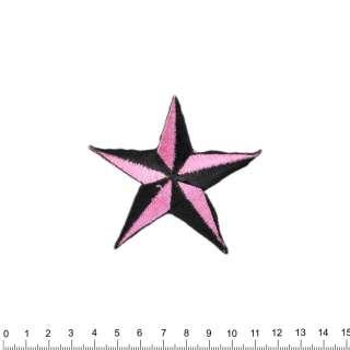 аппликация Звезда черно-розовая, вышивка, 7х8см оптом