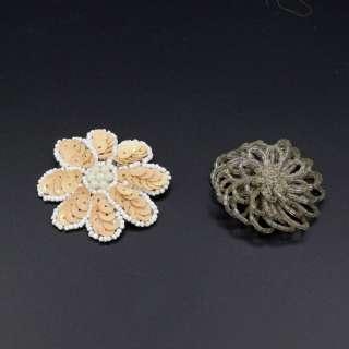 Пришивний декор квітка 55мм бежева, квітка на шпильці 50мм сіра оптом