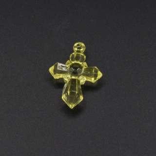 Подвеска пластик крестик 30х20мм прозрачный желтый оптом