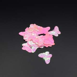 Пайетка бабочка 30х25мм 1 упаковка 2,5г=10шт розовые хамелеон оптом