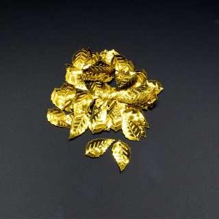 Пайетка листочек 25х14мм 1 упаковка 4г=50шт золотистые оптом