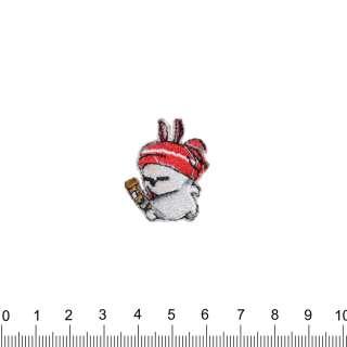 аппликация Заяц в шапке, вышивка, 2х3см оптом