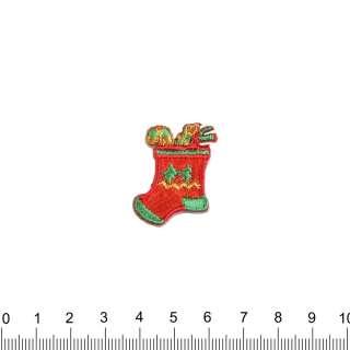 аппликация Новогодний сапожок, вышивка, 3х3см оптом