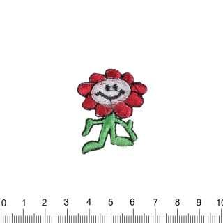 аппликация Цветок смайлик, вышивка, 3х4см оптом