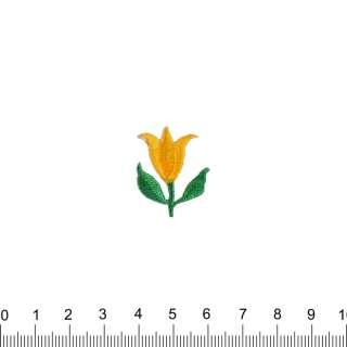 аппликация Тюльпан желтый, вышивка, 2,5х2,5см оптом