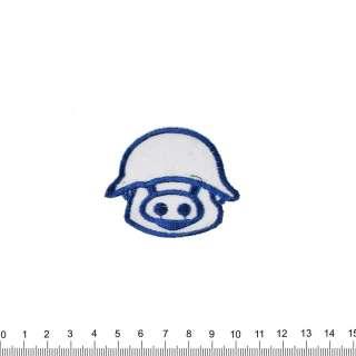 аппликация Свинка в каске, вышивка, 5х6см оптом