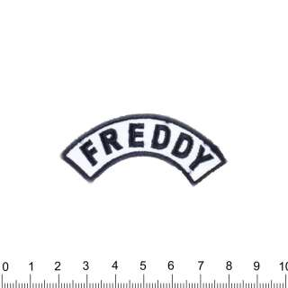 Аппликация FREDDY бело-синяя, вышивка, 7х3см оптом