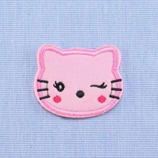 Нашивка на повсті Кітті 60х50мм рожева оптом