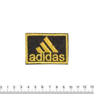 Аппликация ADIDAS черно-желтая, вышивка, 4х6см оптом