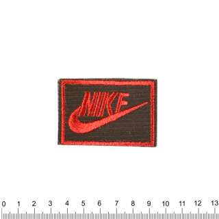 аппликация NIKE черно-красная, вышивка, 4х6см оптом