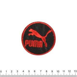 Аппликация PUMA круглая черно-красная, вышивка, 6х6см оптом