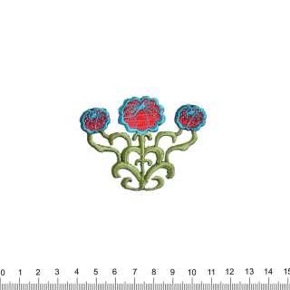 аппликация 3 цветка, вышивка, 5,5х7см оптом