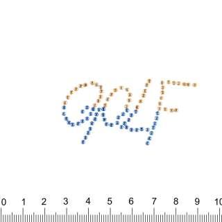 аппликация GOLF желто-синяя, мет.стразы, 3х5см оптом