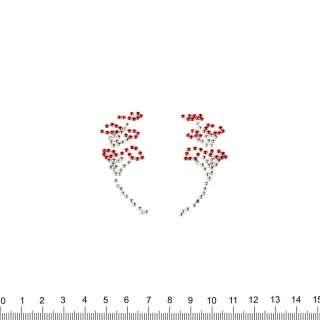 аппликация 2 цветочные ветки, мет.стразы, 6х7см оптом