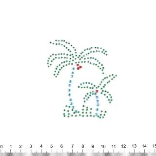 аппликация 2 пальмы зелено-голубые, мет.стразы,7х8см оптом