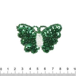 Аппликация Бабочка зеленая, пайетки, 4х6см оптом