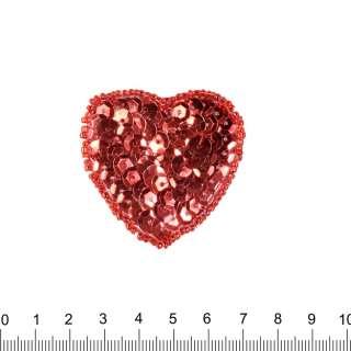 Нашивка з паєтками Серце 50х50мм оптом