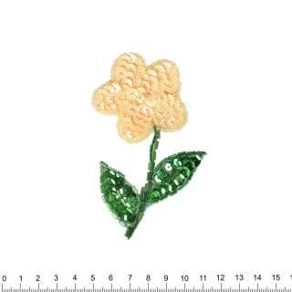 Нашивка з паєтками Квітка 50х11мм кремовий з зеленим оптом