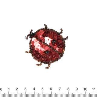 Нашивка з паєтками Божа корівка 50х50мм червоно-чорна оптом