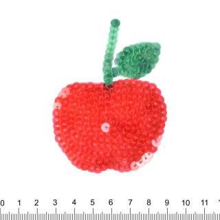 Нашивка з паєтками Яблуко 60х80мм червоне оптом