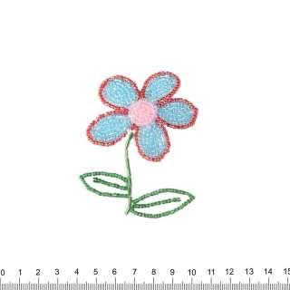 Нашивка з бісером Квітка 50х90мм червоно-блакитний оптом