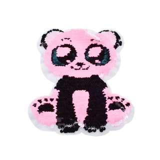 Нашивка Пайєтки панда 160х200мм біло-рожева оптом