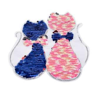 Нашивка Пайєтки два кота 210х230мм синьо-рожеві оптом