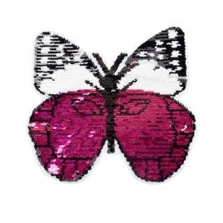 Нашивка Пайєтки метелик 230х240мм малинова /срібло оптом