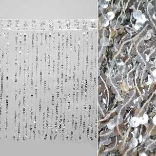 бахрома с пайетками, серебро ш.43см. оптом