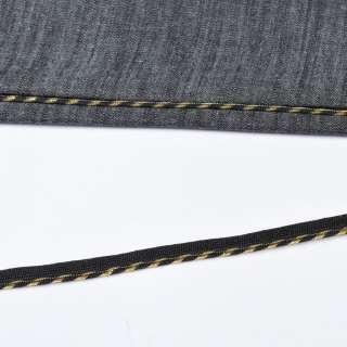 Кант встрочной золотистый на черной основе, ш.10 мм оптом