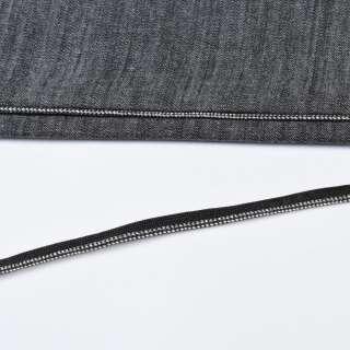Кант встрочной серебристый на черной основе, ш.10 мм оптом