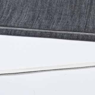 Кант встрочной серебристый на белой основе, ш.10 мм оптом