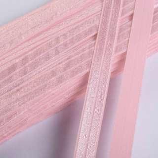 Коса бейка стрейч 15 мм рожева світла оптом