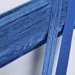 Коса бейка стрейч 15 мм блакитна темна оптом