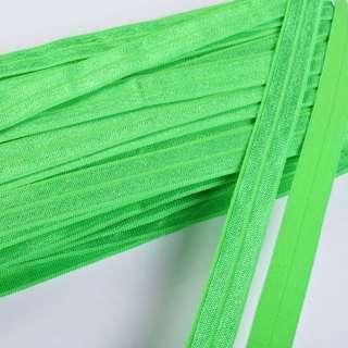Коса бейка стрейч 15 мм зелена оптом